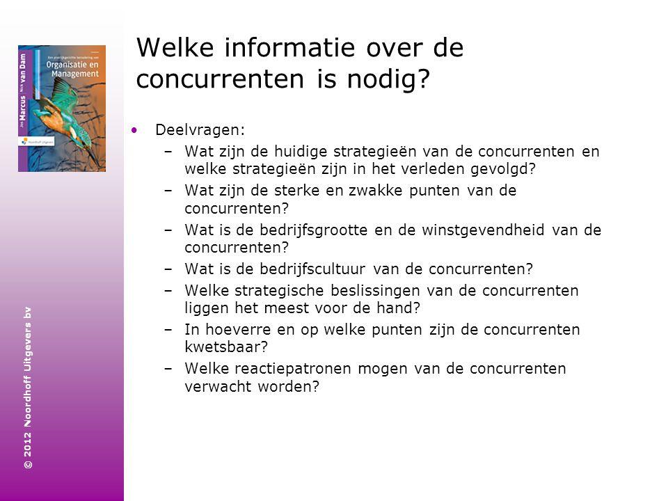 © 2012 Noordhoff Uitgevers bv Welke informatie over de concurrenten is nodig? Deelvragen: –Wat zijn de huidige strategieën van de concurrenten en welk
