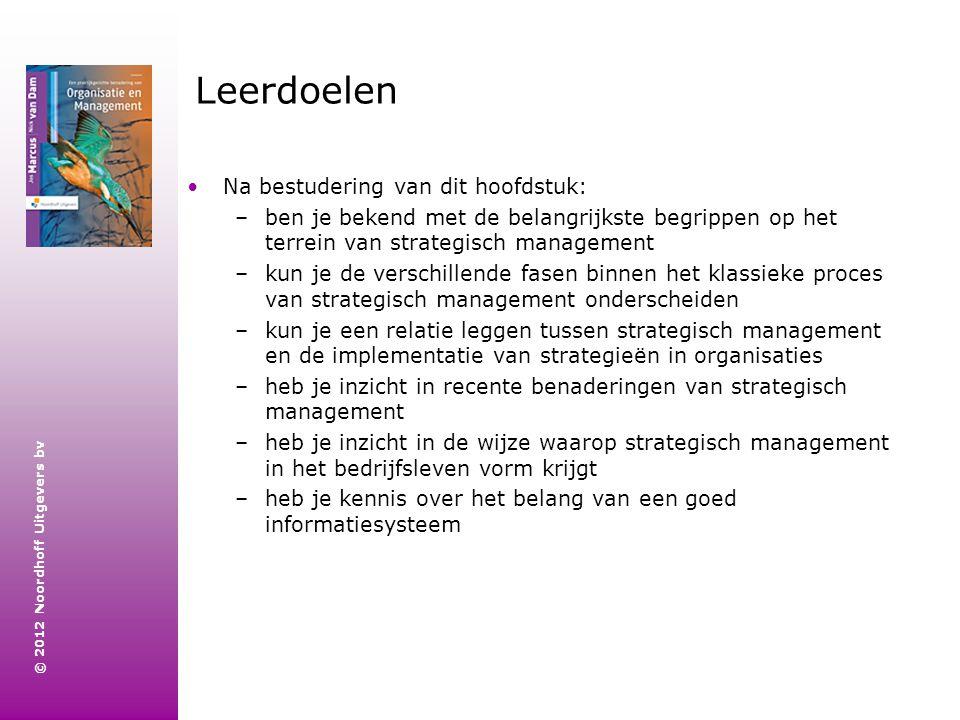 © 2012 Noordhoff Uitgevers bv Leerdoelen Na bestudering van dit hoofdstuk: –ben je bekend met de belangrijkste begrippen op het terrein van strategisc