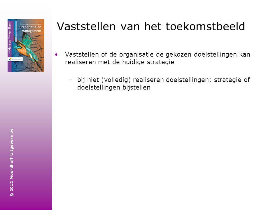 © 2012 Noordhoff Uitgevers bv Vaststellen van het toekomstbeeld Vaststellen of de organisatie de gekozen doelstellingen kan realiseren met de huidige