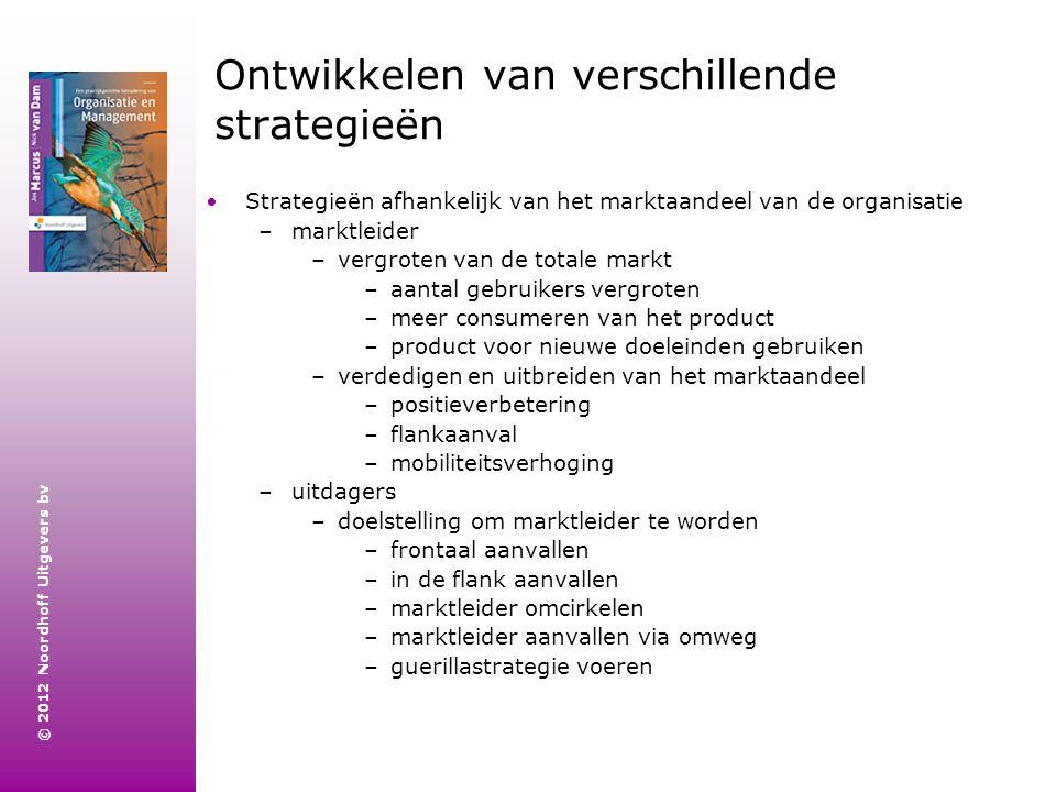 © 2012 Noordhoff Uitgevers bv Ontwikkelen van verschillende strategieën Strategieën afhankelijk van het marktaandeel van de organisatie –marktleider –