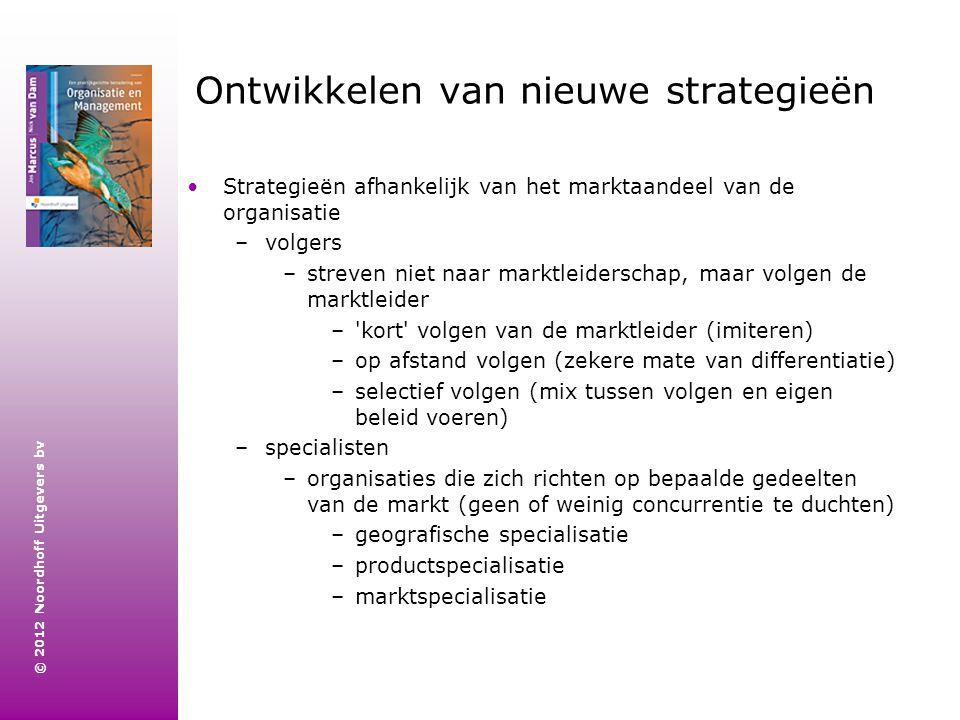 © 2012 Noordhoff Uitgevers bv Ontwikkelen van nieuwe strategieën Strategieën afhankelijk van het marktaandeel van de organisatie –volgers –streven nie