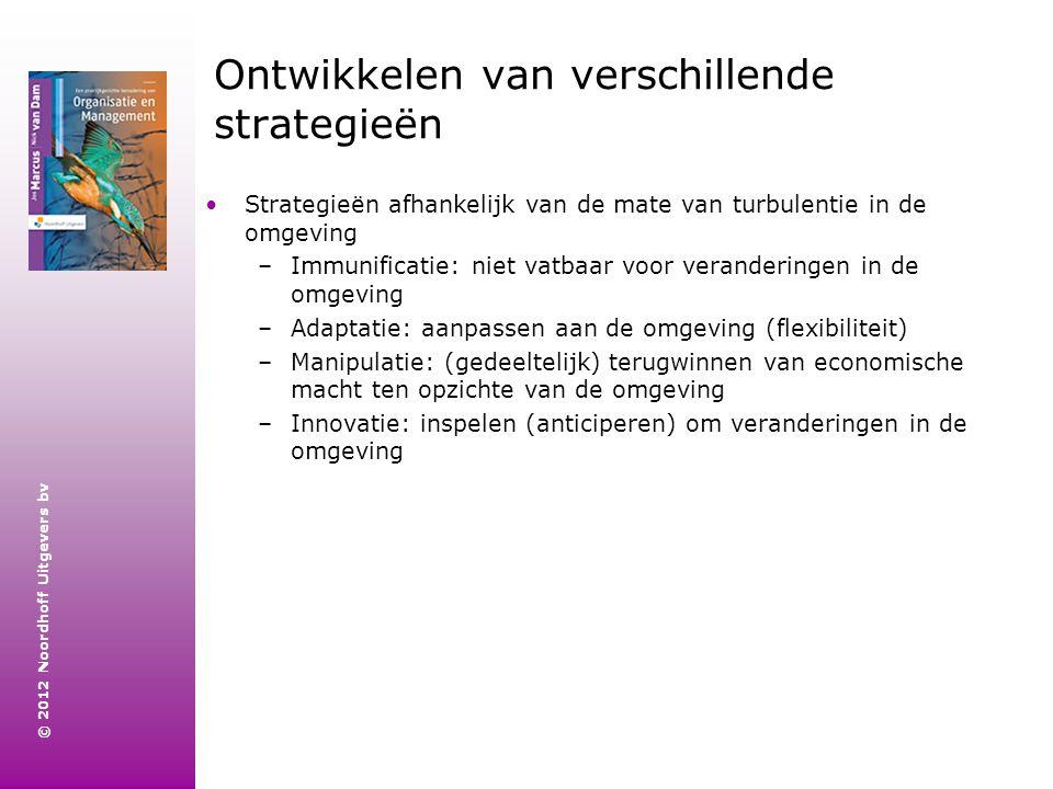 © 2012 Noordhoff Uitgevers bv Ontwikkelen van verschillende strategieën Strategieën afhankelijk van de mate van turbulentie in de omgeving –Immunifica