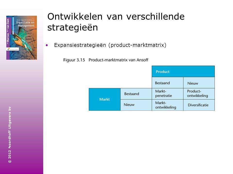 © 2012 Noordhoff Uitgevers bv Ontwikkelen van verschillende strategieën Expansiestrategieën (product-marktmatrix)