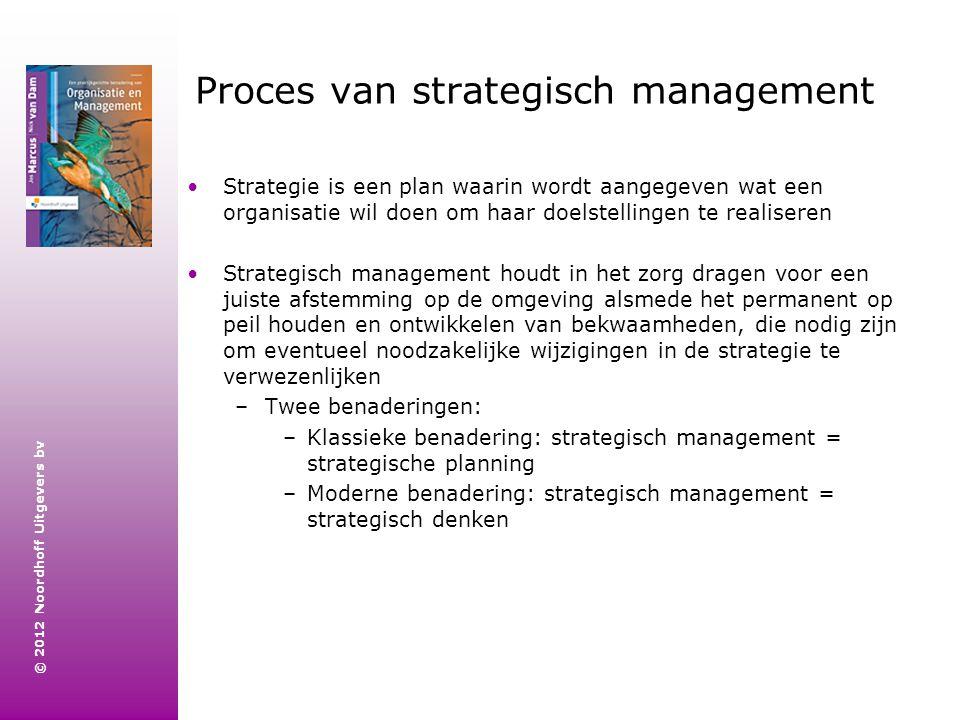 © 2012 Noordhoff Uitgevers bv Proces van strategisch management Strategie is een plan waarin wordt aangegeven wat een organisatie wil doen om haar doe