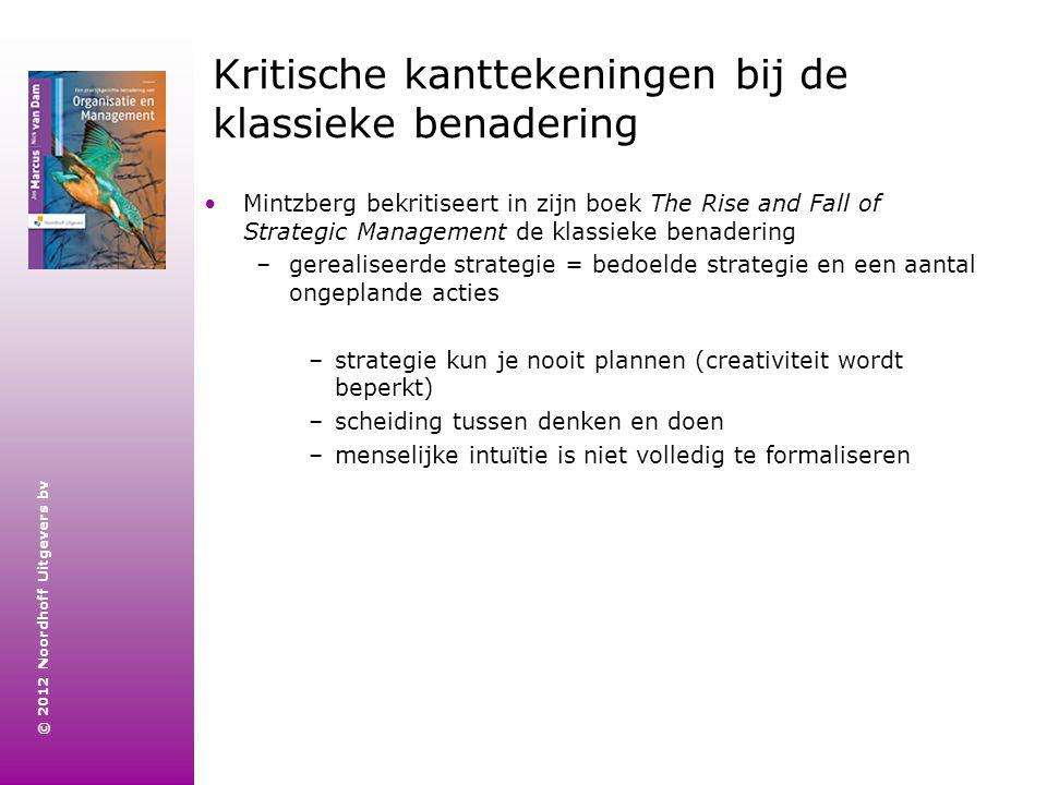 © 2012 Noordhoff Uitgevers bv Kritische kanttekeningen bij de klassieke benadering Mintzberg bekritiseert in zijn boek The Rise and Fall of Strategic