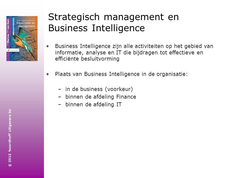 © 2012 Noordhoff Uitgevers bv Strategisch management en Business Intelligence Business Intelligence zijn alle activiteiten op het gebied van informati