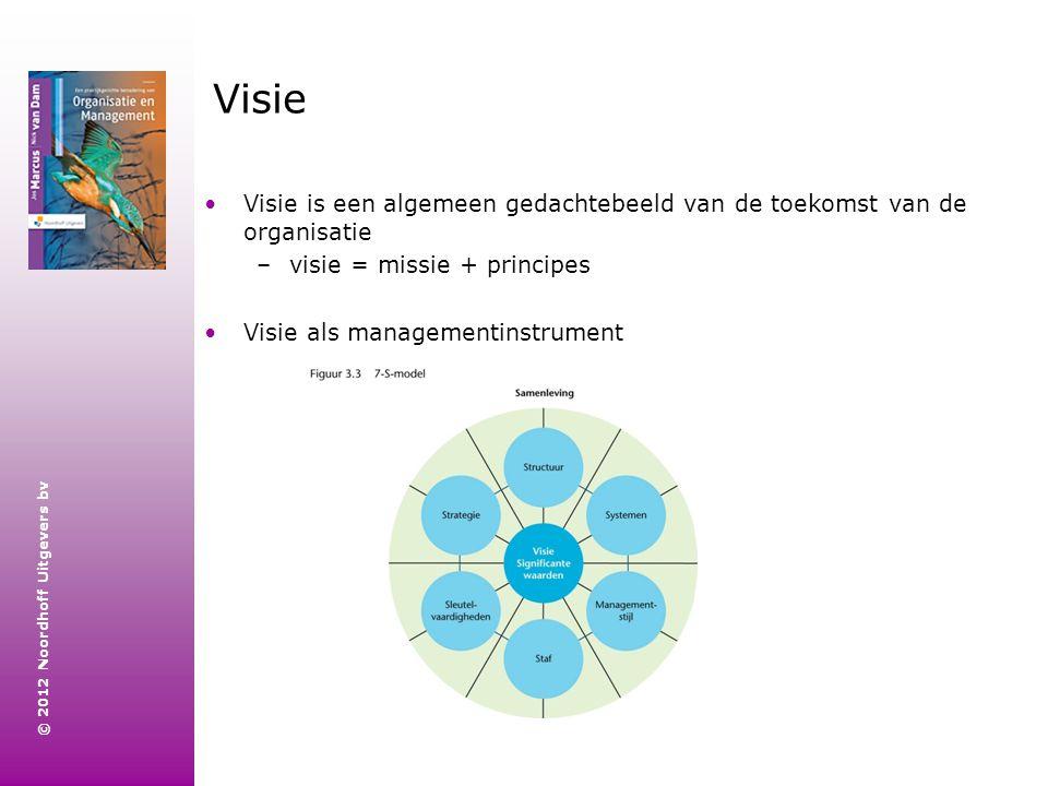 © 2012 Noordhoff Uitgevers bv Visie is een algemeen gedachtebeeld van de toekomst van de organisatie –visie = missie + principes Visie als managementi