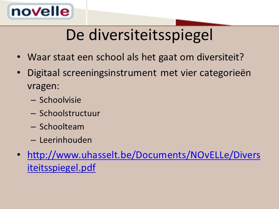 De diversiteitsspiegel Waar staat een school als het gaat om diversiteit? Digitaal screeningsinstrument met vier categorieën vragen: – Schoolvisie – S
