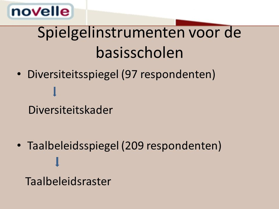 Spielgelinstrumenten voor de basisscholen Diversiteitsspiegel (97 respondenten) Diversiteitskader Taalbeleidsspiegel (209 respondenten) Taalbeleidsras