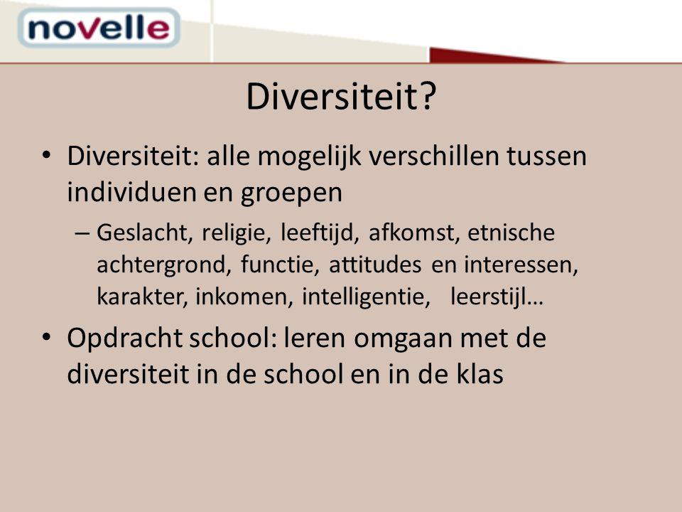 Resultaten diversiteitsspiegel +Diversiteit heeft een eigen plaats in de schoolstructuur en -visie +Diversiteit komt voldoende aan bod in het klasgebeuren (inhouden, attit., vaardigh.) -Nood aan interne en externe ondersteuning en samenwerking met partners -Nood aan experimenteren met interactieve en cooperatieve werkvormen