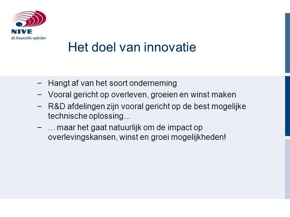 Het doel van innovatie −Hangt af van het soort onderneming −Vooral gericht op overleven, groeien en winst maken −R&D afdelingen zijn vooral gericht op