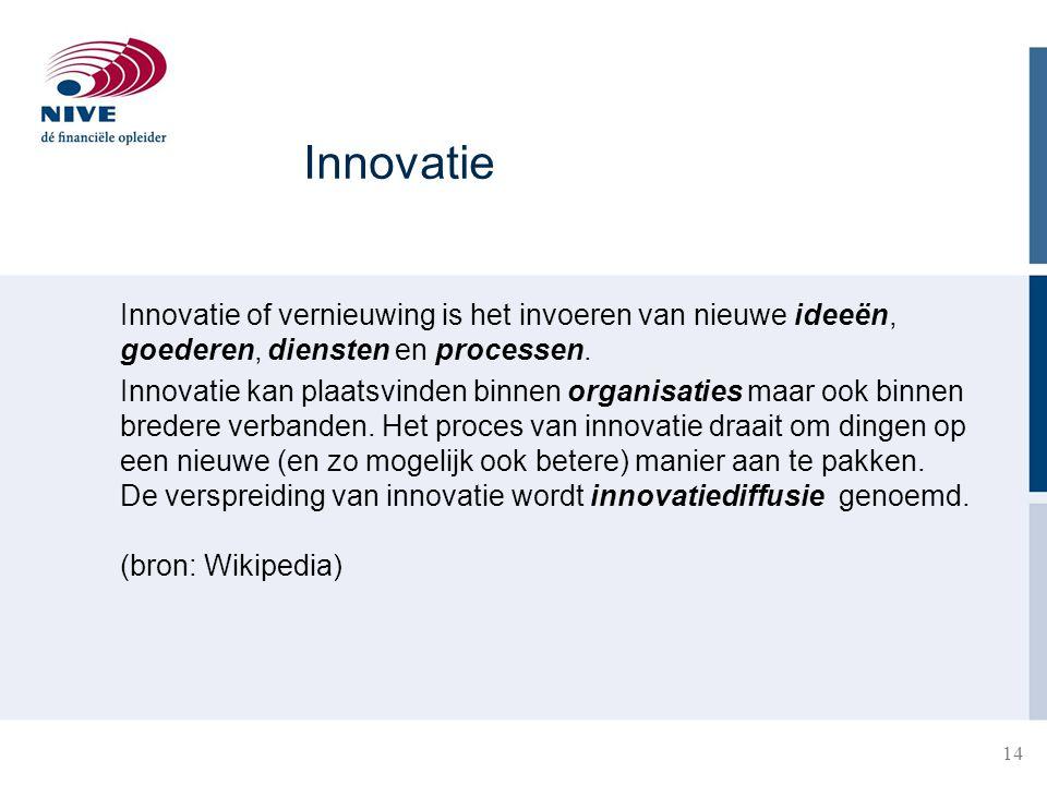 14 Innovatie of vernieuwing is het invoeren van nieuwe ideeën, goederen, diensten en processen. Innovatie kan plaatsvinden binnen organisaties maar oo