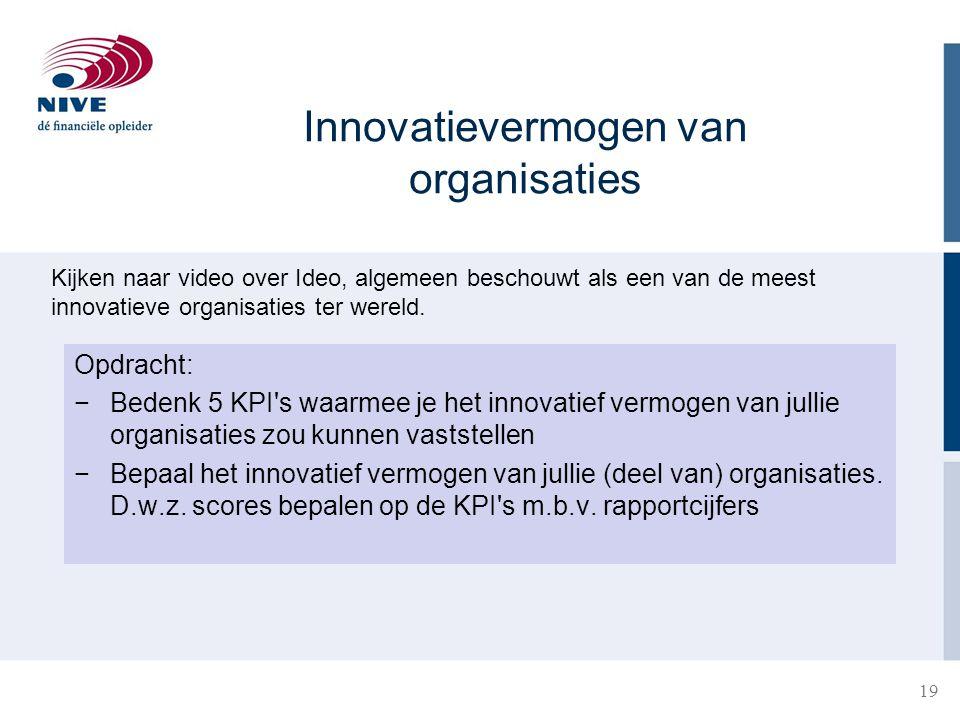 19 Opdracht: −Bedenk 5 KPI's waarmee je het innovatief vermogen van jullie organisaties zou kunnen vaststellen −Bepaal het innovatief vermogen van jul
