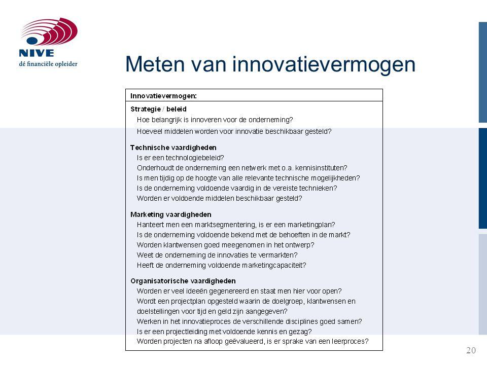 Van de R&D afdeling (technology push) Uit de markt (market pull) Van elke afdeling (interactief) Procesverbeteringen (geïntegreerd) Van externe bronnen (netwerken) Van 'intangible assets Bronnen voor innovatie?