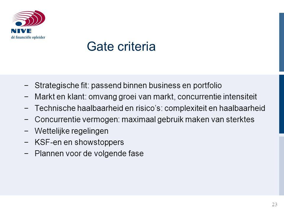 Gate criteria −Strategische fit: passend binnen business en portfolio −Markt en klant: omvang groei van markt, concurrentie intensiteit −Technische ha