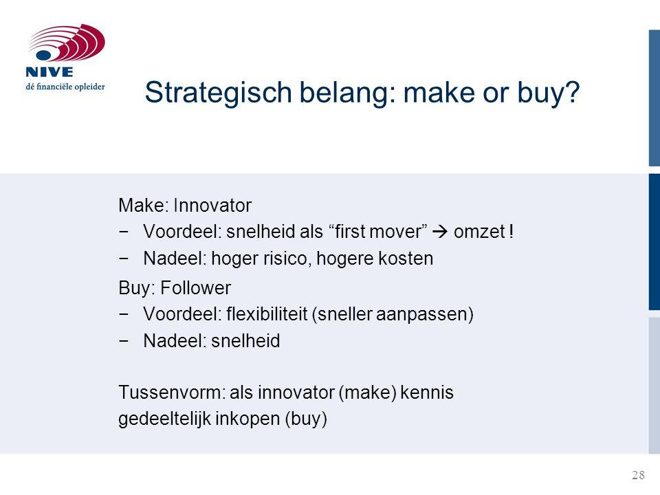 """28 Strategisch belang: make or buy? Make: Innovator −Voordeel: snelheid als """"first mover""""  omzet ! −Nadeel: hoger risico, hogere kosten Buy: Follower"""