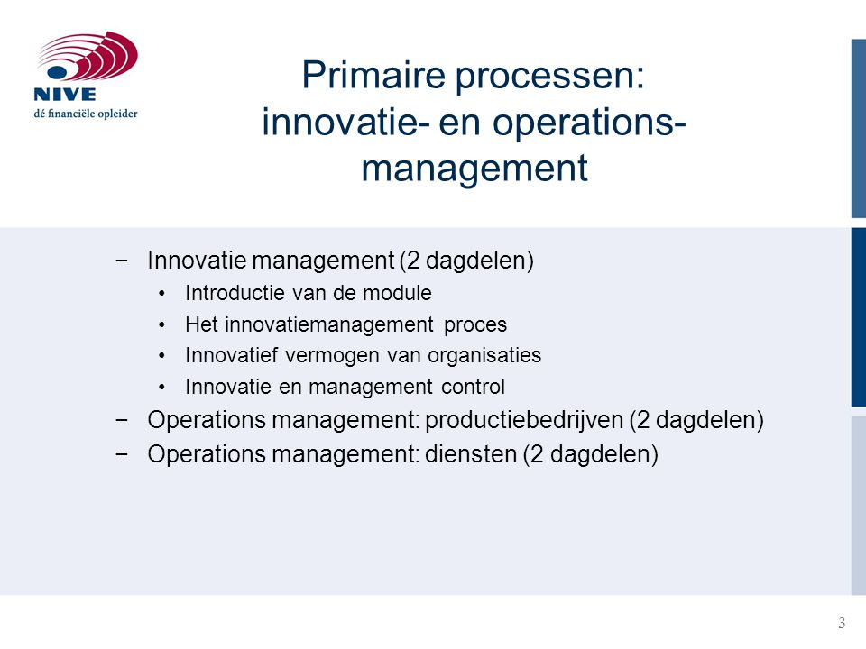 Primaire processen: innovatie- en operations- management −Innovatie management (2 dagdelen) Introductie van de module Het innovatiemanagement proces I