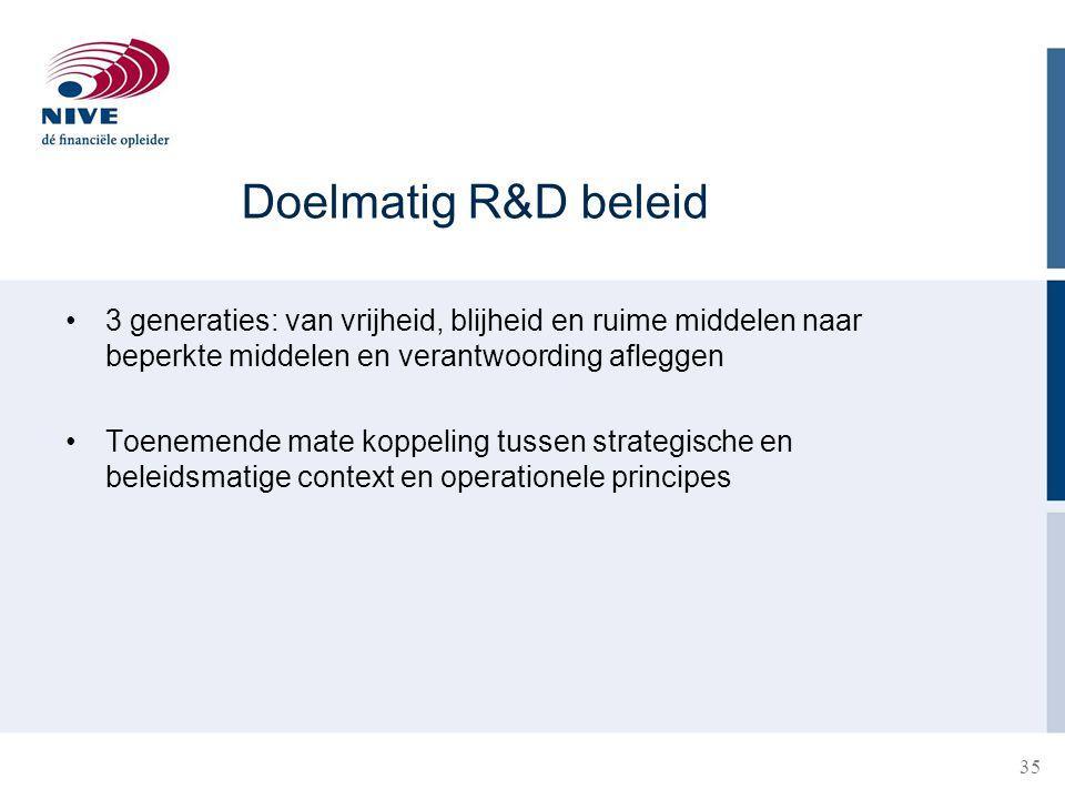 Doelmatig R&D beleid 3 generaties: van vrijheid, blijheid en ruime middelen naar beperkte middelen en verantwoording afleggen Toenemende mate koppelin