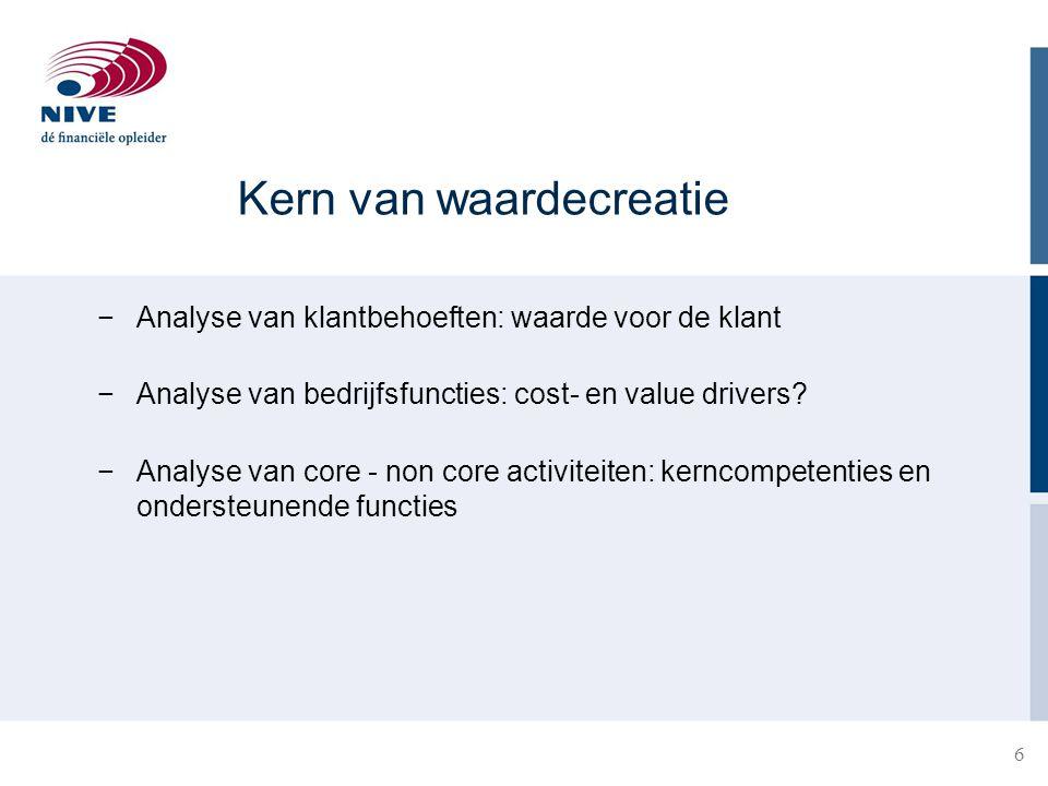 6 Kern van waardecreatie −Analyse van klantbehoeften: waarde voor de klant −Analyse van bedrijfsfuncties: cost- en value drivers? −Analyse van core -