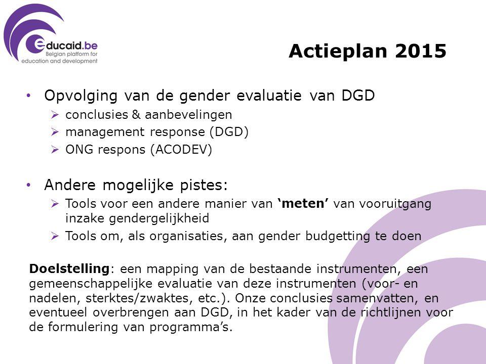Opvolging van de gender evaluatie van DGD  conclusies & aanbevelingen  management response (DGD)  ONG respons (ACODEV) Andere mogelijke pistes:  Tools voor een andere manier van 'meten' van vooruitgang inzake gendergelijkheid  Tools om, als organisaties, aan gender budgetting te doen Doelstelling: een mapping van de bestaande instrumenten, een gemeenschappelijke evaluatie van deze instrumenten (voor- en nadelen, sterktes/zwaktes, etc.).