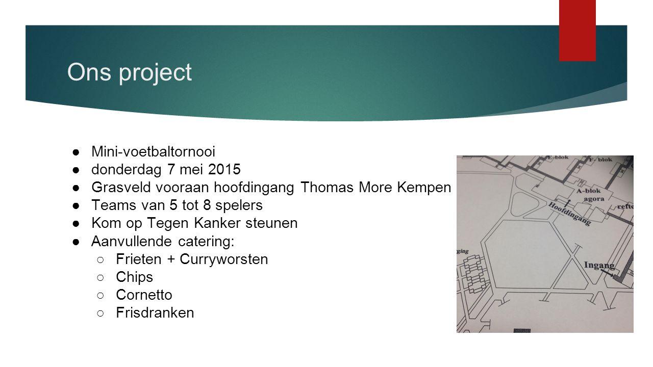 Ons project ●Mini-voetbaltornooi ●donderdag 7 mei 2015 ●Grasveld vooraan hoofdingang Thomas More Kempen ●Teams van 5 tot 8 spelers ●Kom op Tegen Kanke