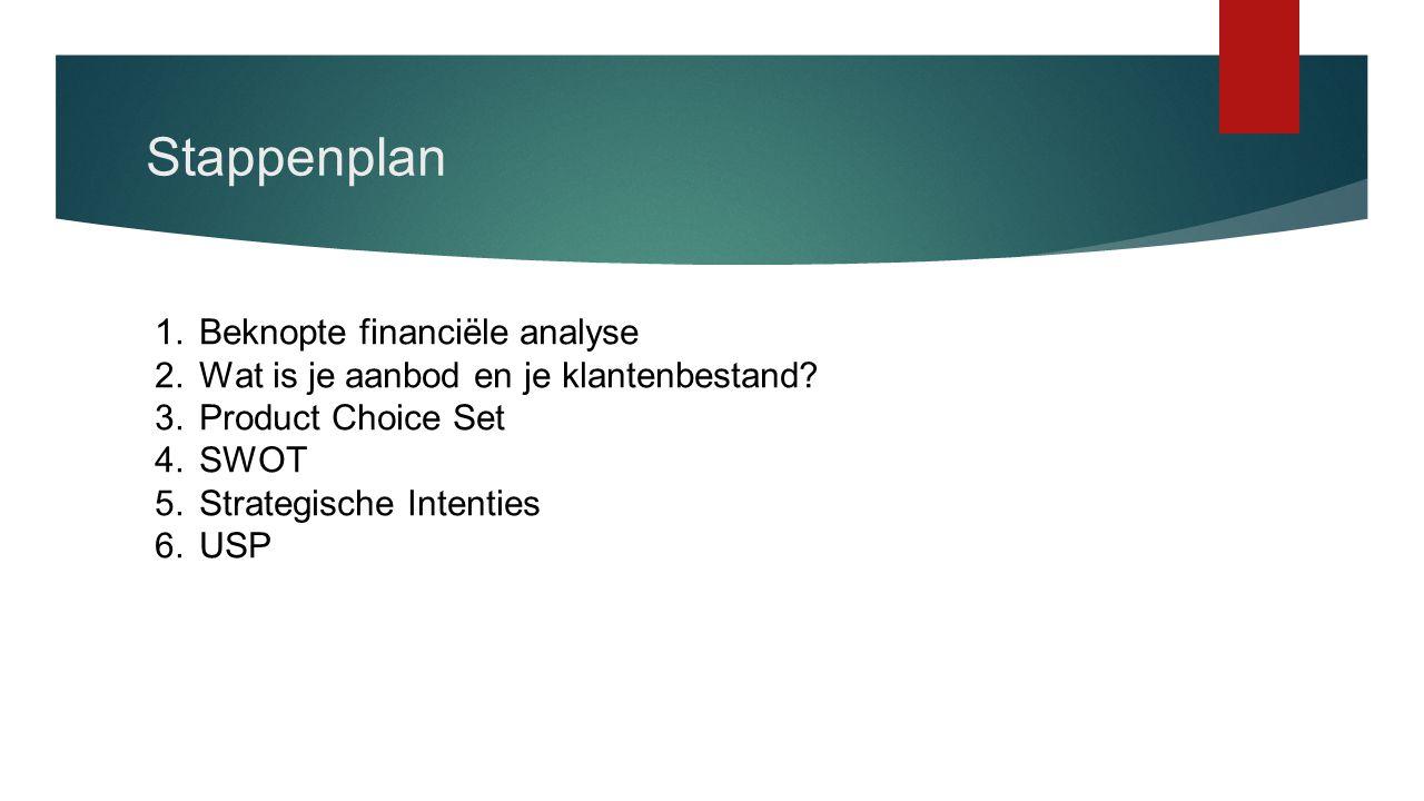 Stappenplan 1.Beknopte financiële analyse 2.Wat is je aanbod en je klantenbestand? 3.Product Choice Set 4.SWOT 5.Strategische Intenties 6.USP