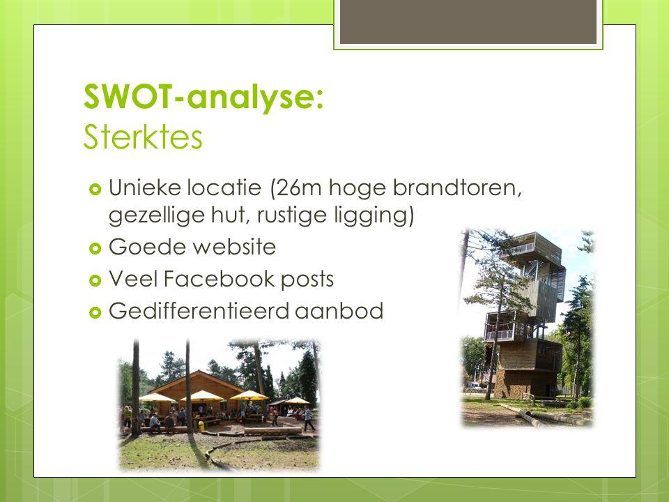 SWOT-analyse: Sterktes  Unieke locatie (26m hoge brandtoren, gezellige hut, rustige ligging)  Goede website  Veel Facebook posts  Gedifferentieerd aanbod