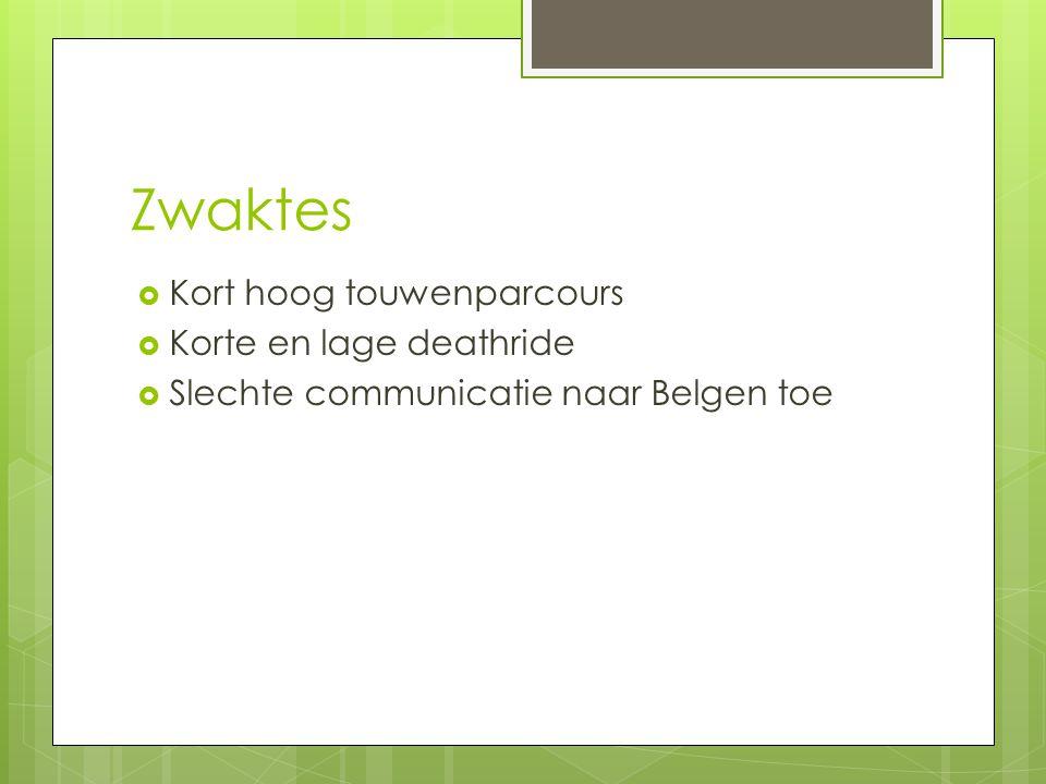 Zwaktes  Kort hoog touwenparcours  Korte en lage deathride  Slechte communicatie naar Belgen toe