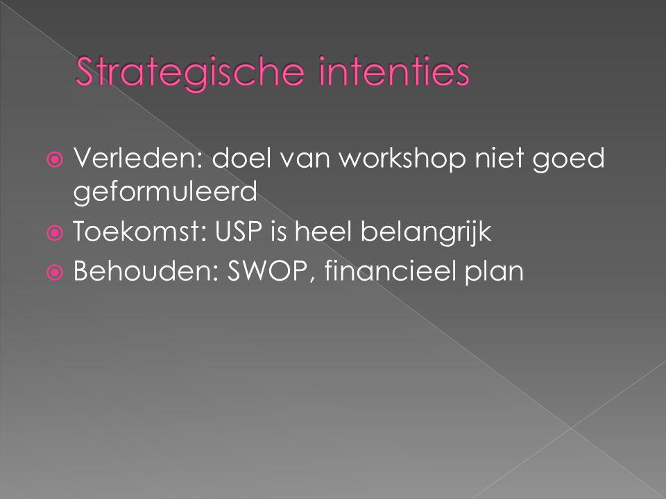  Verleden: doel van workshop niet goed geformuleerd  Toekomst: USP is heel belangrijk  Behouden: SWOP, financieel plan