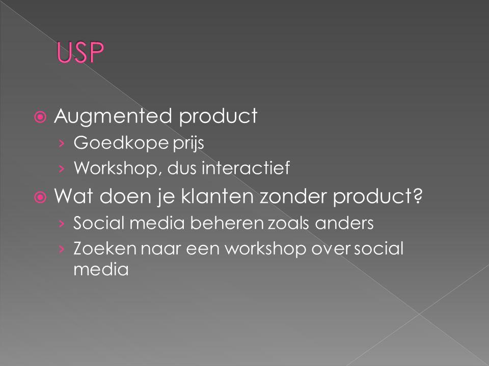  Augmented product › Goedkope prijs › Workshop, dus interactief  Wat doen je klanten zonder product.