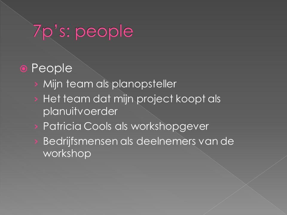  People › Mijn team als planopsteller › Het team dat mijn project koopt als planuitvoerder › Patricia Cools als workshopgever › Bedrijfsmensen als deelnemers van de workshop