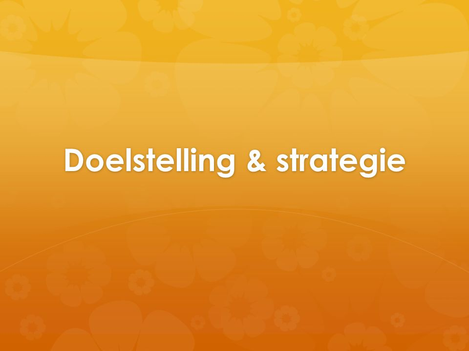 Doelstelling & strategie