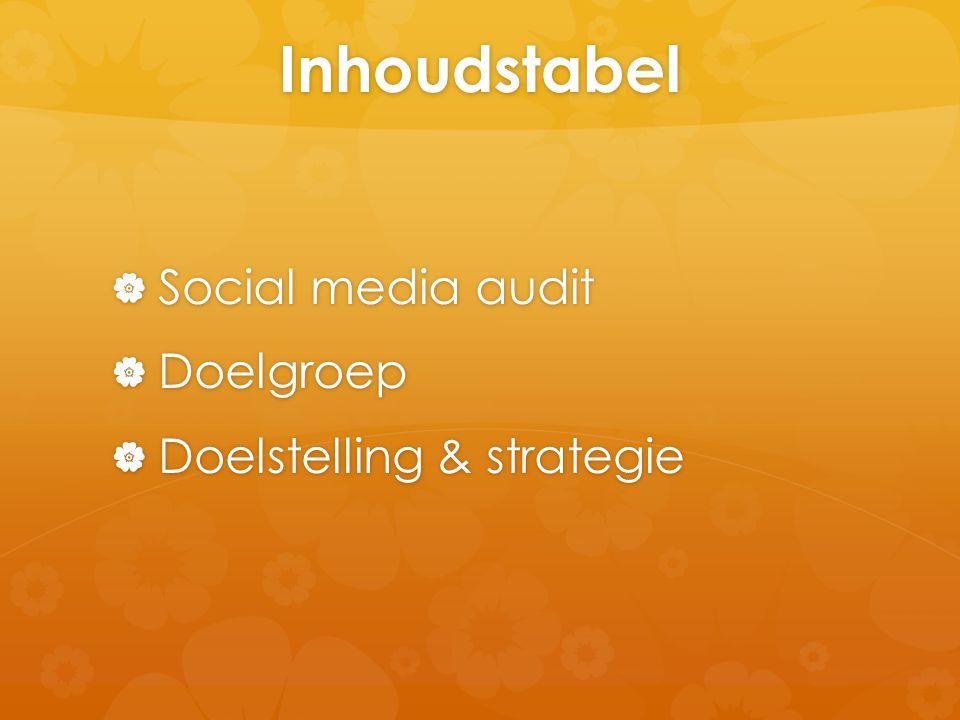 Inhoudstabel  Social media audit  Doelgroep  Doelstelling & strategie