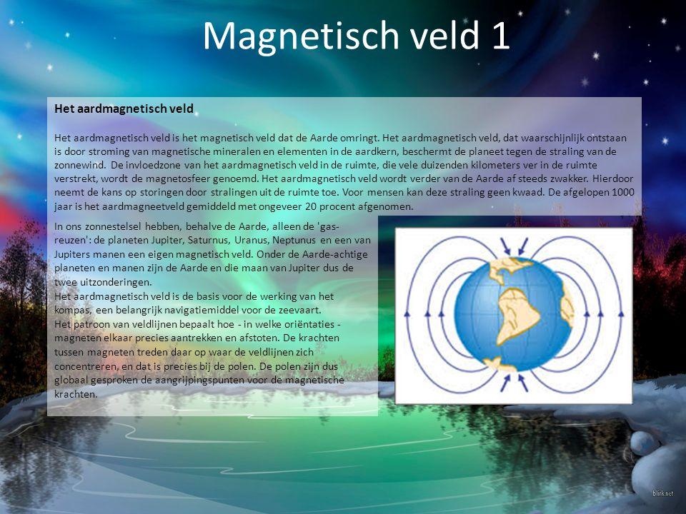 Magnetisch veld 2 Het geografische en magnetische Noorden Omdat voor de richtingsbepaling vaak van een magnetisch kompas gebruikgemaakt wordt en de kompasnaald niet precies naar de noordpool wijst, onderscheidt men het geografische noorden en het magnetische noorden.