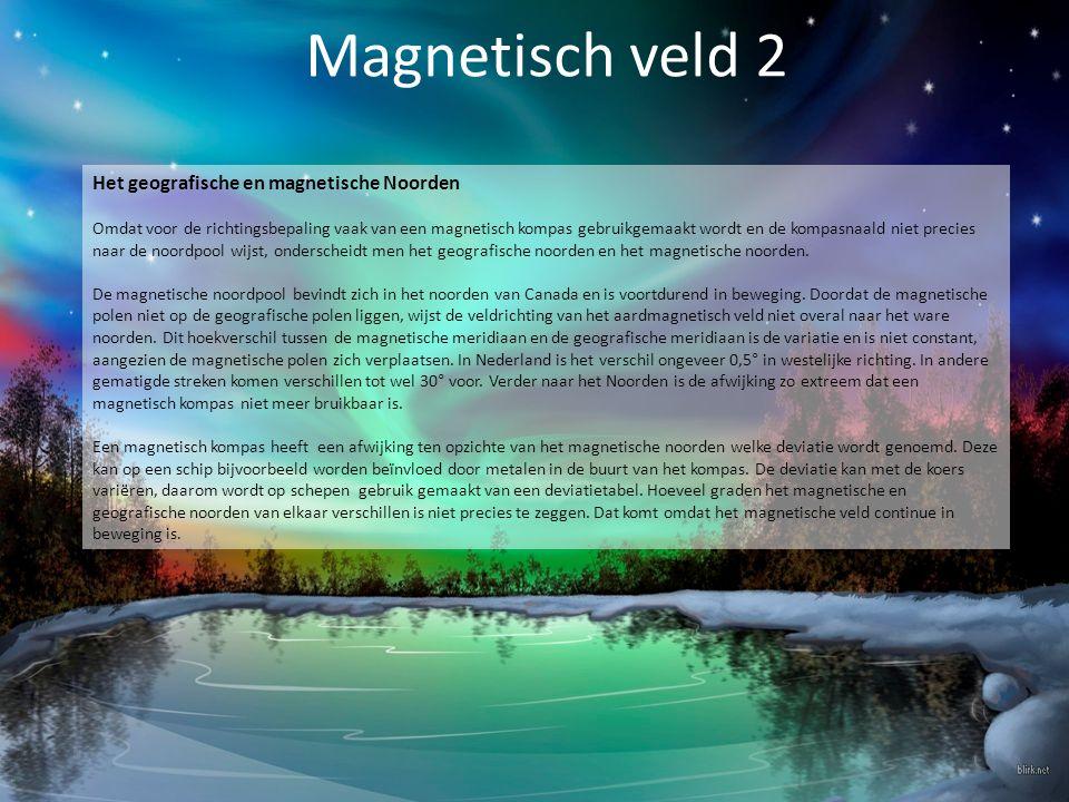 Magnetisch veld 2 Het geografische en magnetische Noorden Omdat voor de richtingsbepaling vaak van een magnetisch kompas gebruikgemaakt wordt en de ko