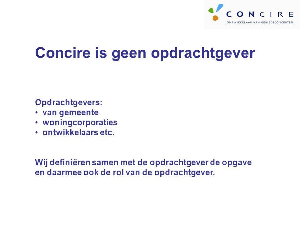Concire is geen opdrachtgever Opdrachtgevers: van gemeente woningcorporaties ontwikkelaars etc.