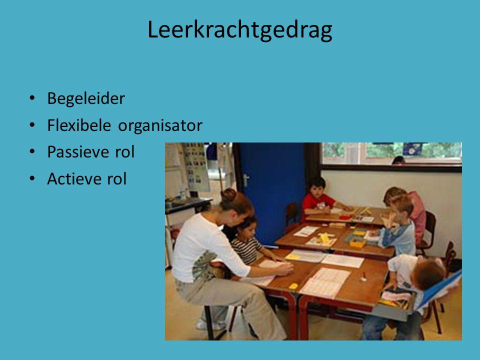 Leerkrachtgedrag Begeleider Flexibele organisator Passieve rol Actieve rol