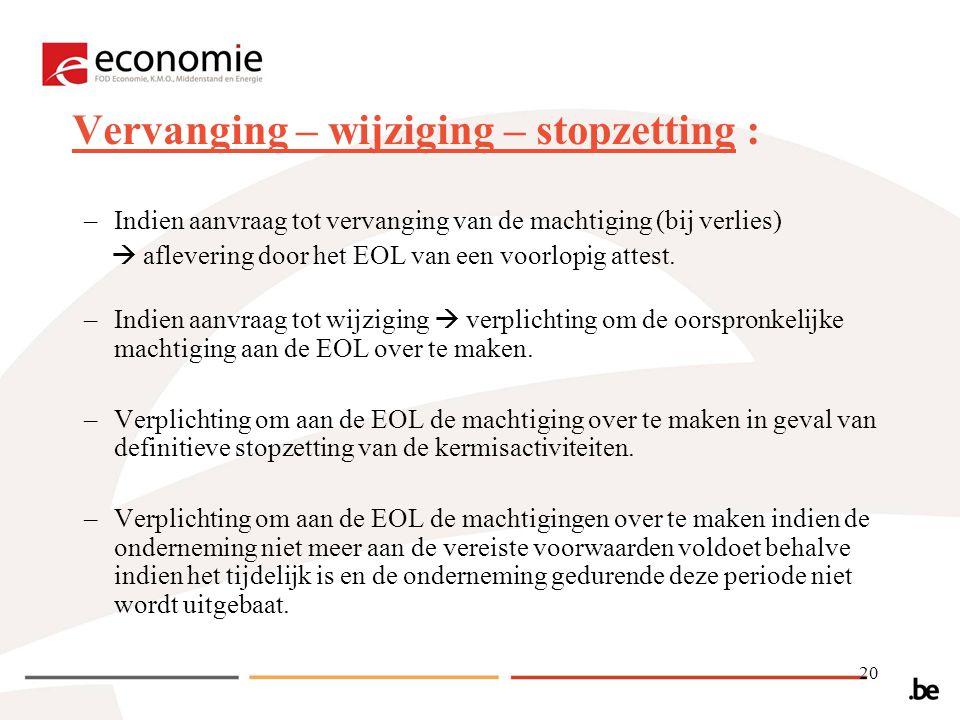 20 Vervanging – wijziging – stopzetting : –Indien aanvraag tot vervanging van de machtiging (bij verlies)  aflevering door het EOL van een voorlopig attest.