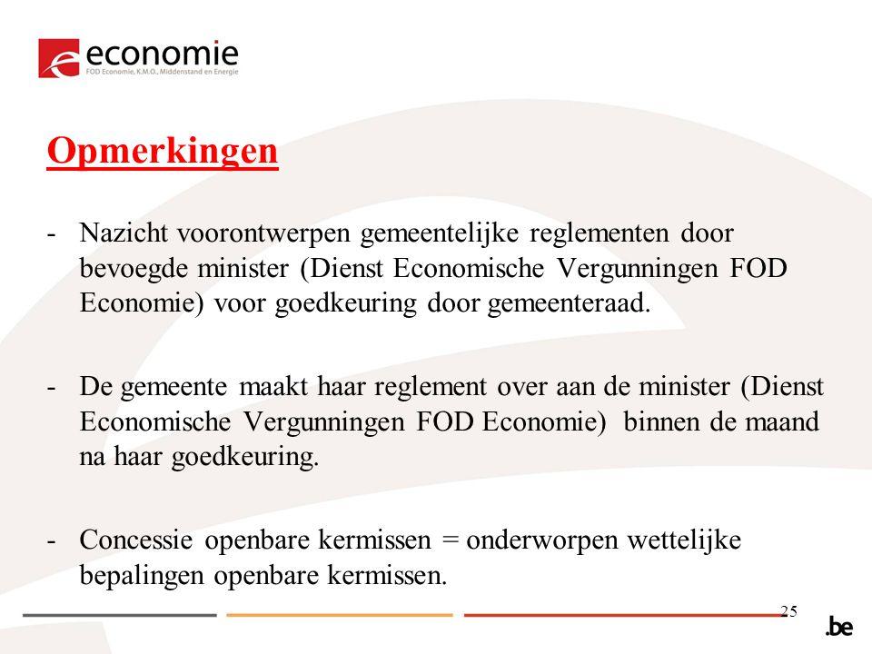 Opmerkingen -Nazicht voorontwerpen gemeentelijke reglementen door bevoegde minister (Dienst Economische Vergunningen FOD Economie) voor goedkeuring door gemeenteraad.