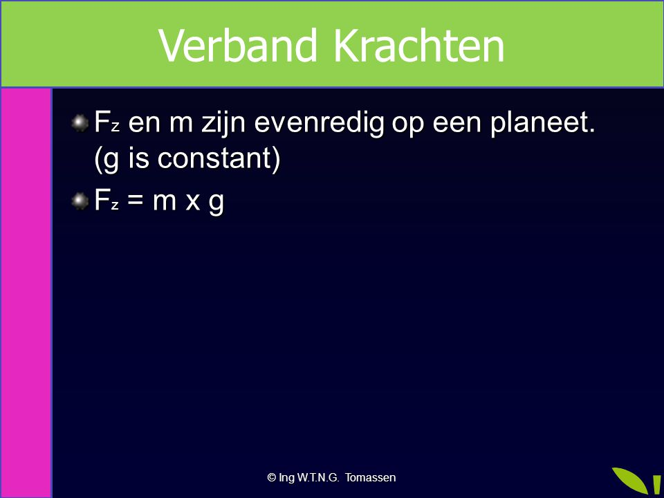 F z en m zijn evenredig op een planeet. (g is constant) F z = m x g © Ing W.T.N.G. Tomassen Verband Krachten