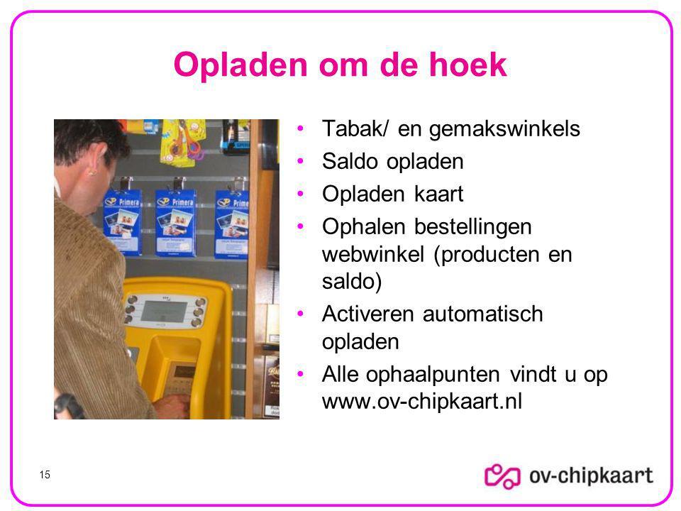Opladen om de hoek Tabak/ en gemakswinkels Saldo opladen Opladen kaart Ophalen bestellingen webwinkel (producten en saldo) Activeren automatisch opladen Alle ophaalpunten vindt u op www.ov-chipkaart.nl 15
