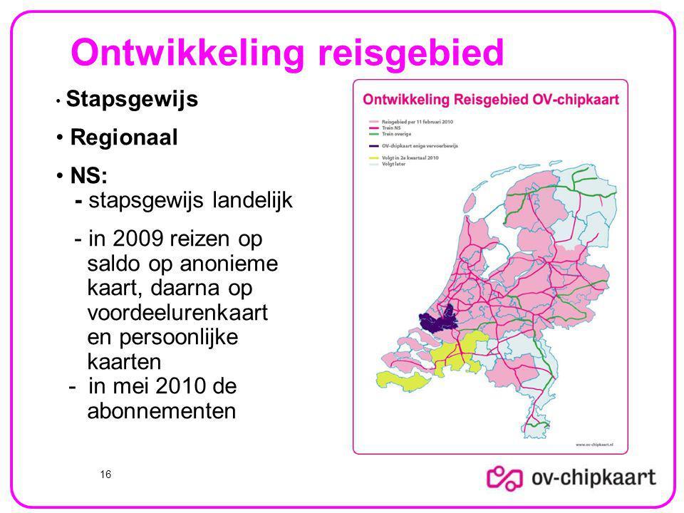 Ontwikkeling reisgebied 16 Stapsgewijs Regionaal NS: - stapsgewijs landelijk - in 2009 reizen op saldo op anonieme kaart, daarna op voordeelurenkaart en persoonlijke kaarten - in mei 2010 de abonnementen