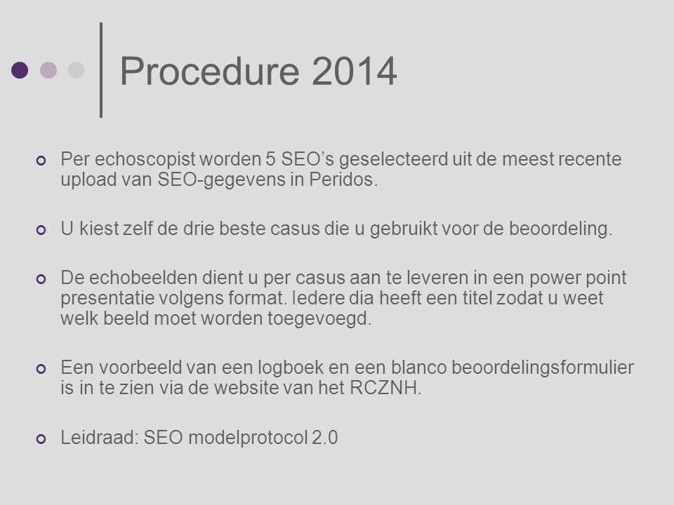Procedure 2014 Per echoscopist worden 5 SEO's geselecteerd uit de meest recente upload van SEO-gegevens in Peridos. U kiest zelf de drie beste casus d