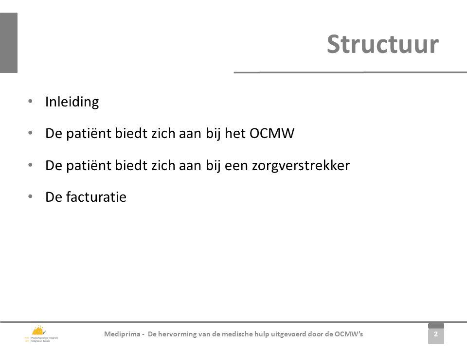 2 Mediprima - De hervorming van de medische hulp uitgevoerd door de OCMW's Inleiding De patiënt biedt zich aan bij het OCMW De patiënt biedt zich aan bij een zorgverstrekker De facturatie Structuur