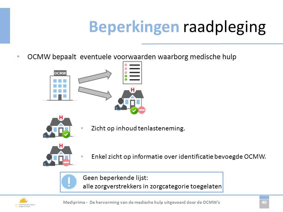 40 OCMW bepaalt eventuele voorwaarden waarborg medische hulp Beperkingen raadpleging Mediprima - De hervorming van de medische hulp uitgevoerd door de OCMW's Enkel zicht op informatie over identificatie bevoegde OCMW.
