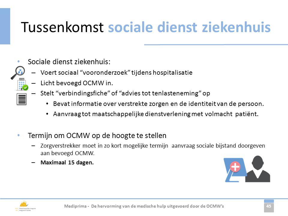 45 Sociale dienst ziekenhuis: – Voert sociaal vooronderzoek tijdens hospitalisatie – Licht bevoegd OCMW in.