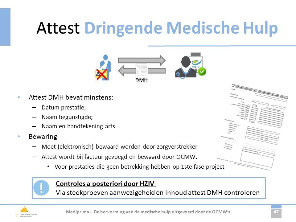 47 Attest DMH bevat minstens: – Datum prestatie; – Naam begunstigde; – Naam en handtekening arts.