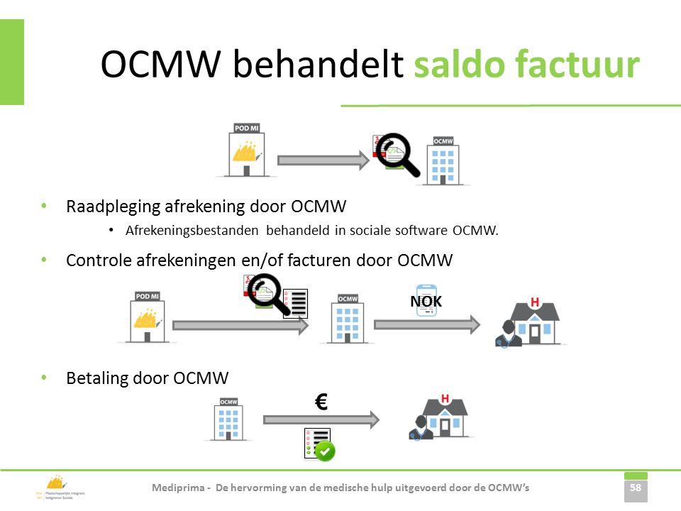 Raadpleging afrekening door OCMW Afrekeningsbestanden behandeld in sociale software OCMW.