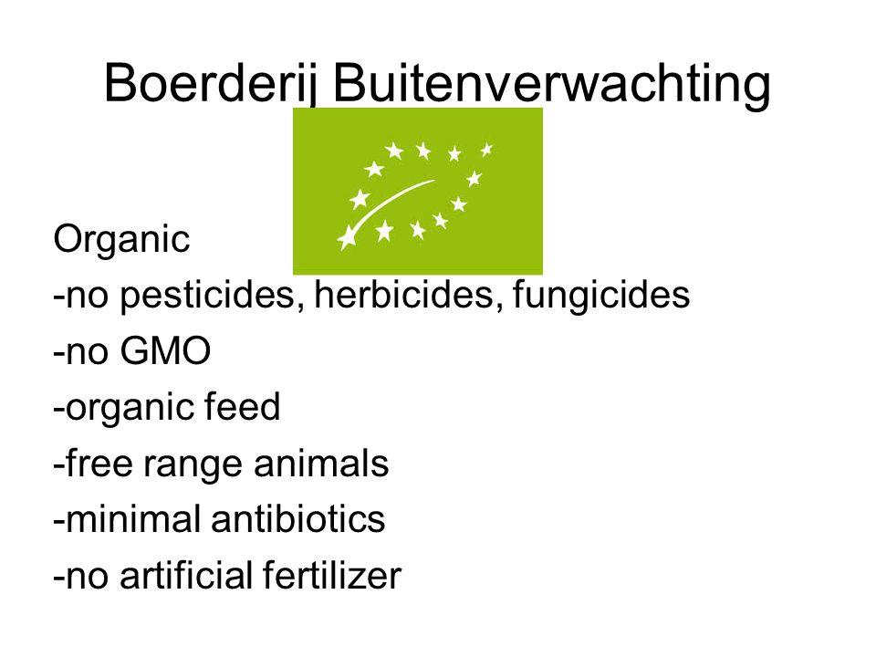 Boerderij Buitenverwachting Organic -no pesticides, herbicides, fungicides -no GMO -organic feed -free range animals -minimal antibiotics -no artificial fertilizer