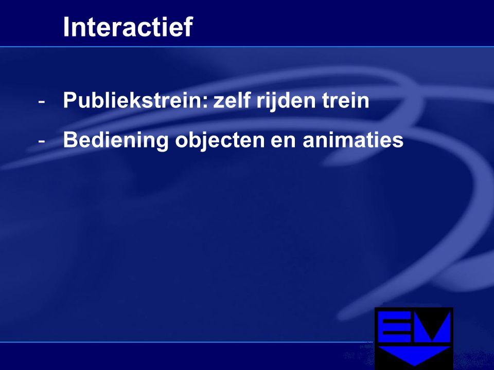 Interactief -Publiekstrein: zelf rijden trein -Bediening objecten en animaties